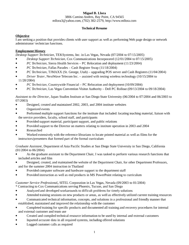 Executive Desktop Support Technician Resume Template