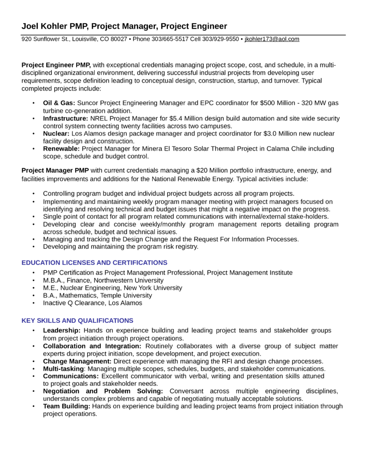 Executive Project Engineer Resume Template