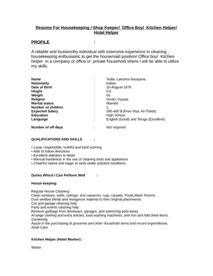 resume kitchen helper