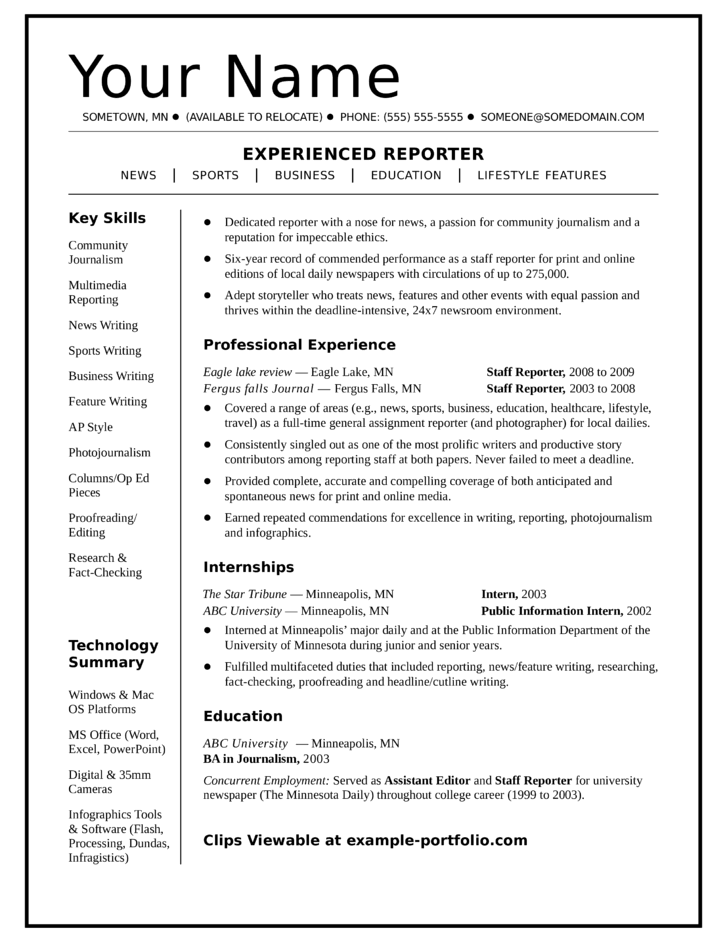 One Page Resume Examples Resume Examples Free Template One Page Resume  Samples Large Size  One Page Resume