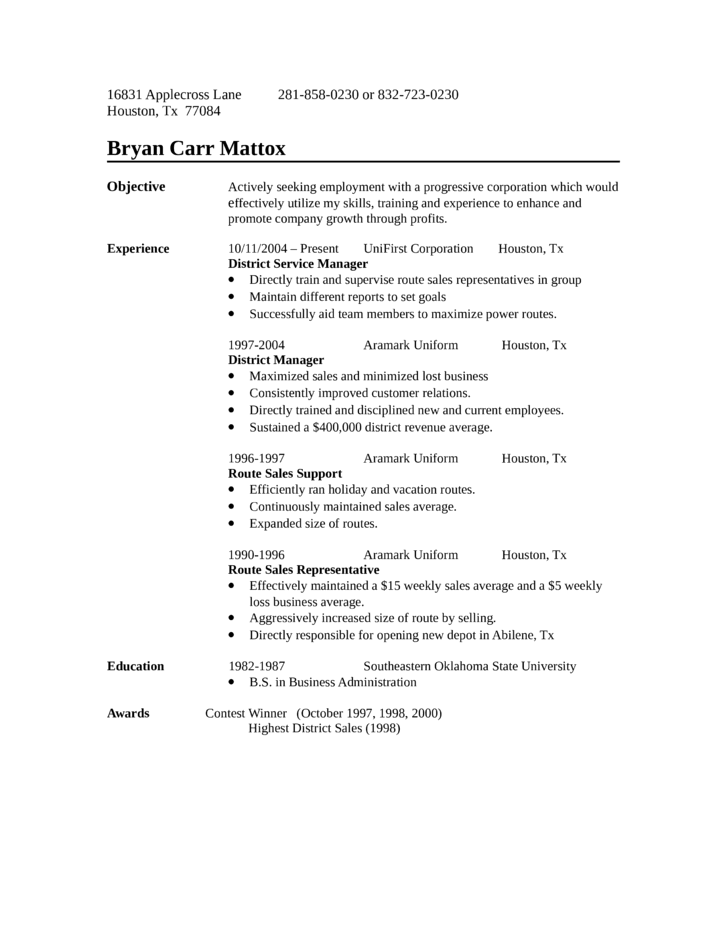 route sales sample resume professional route sales representative