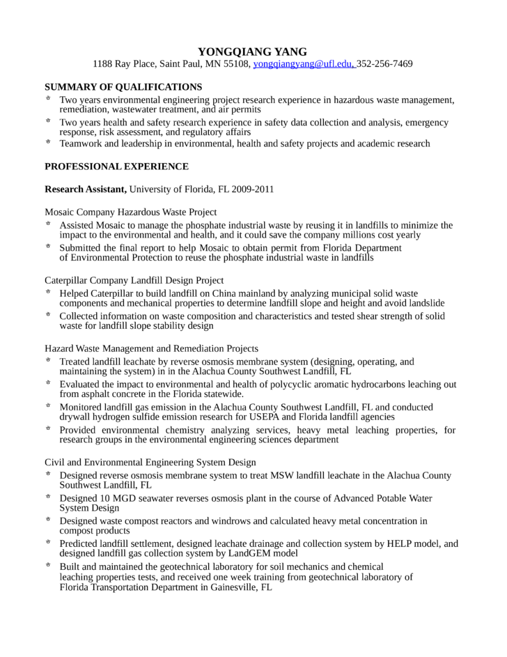 resume of environmental engineer - April.onthemarch.co