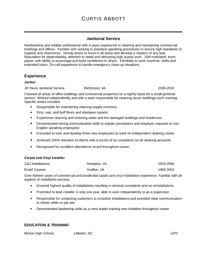 Professional Janitor Resume Template