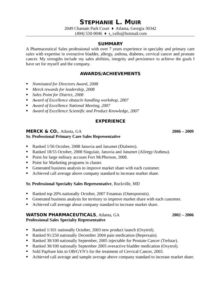 Professional Pharmaceutical Sales Representative Resume