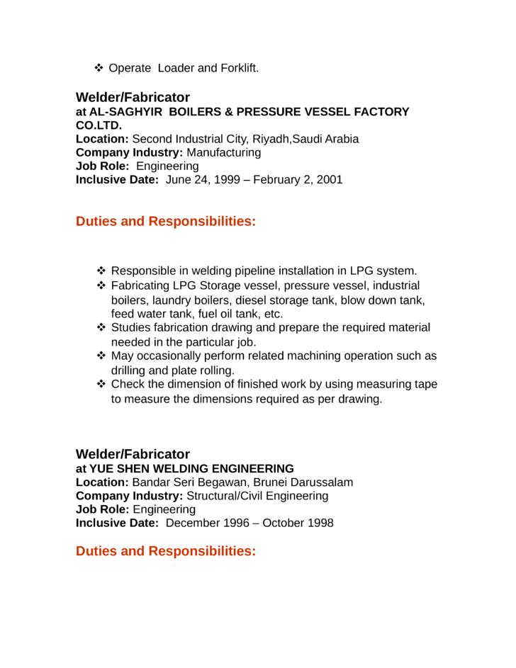 Professional Welder Fabricator Resume Template  page 2