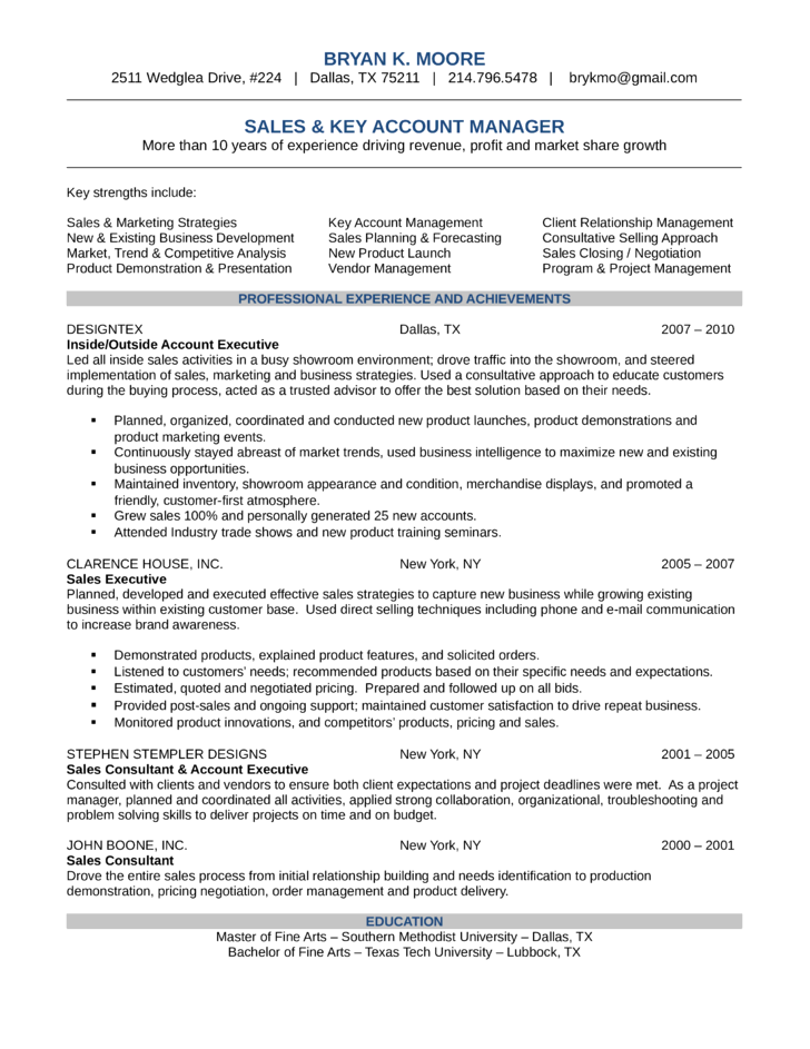 96 Key Account Manager Resume