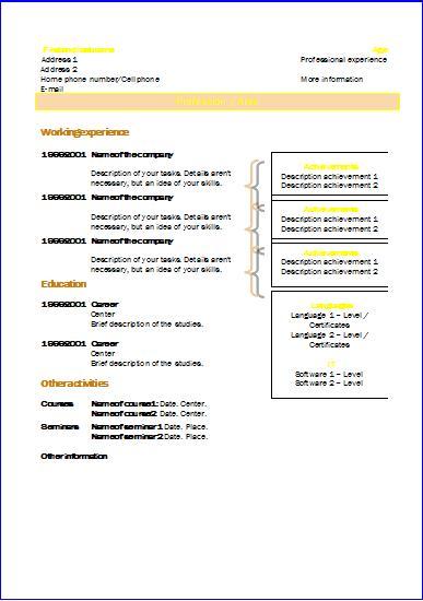 CV templates Chronological 2  Resume templates