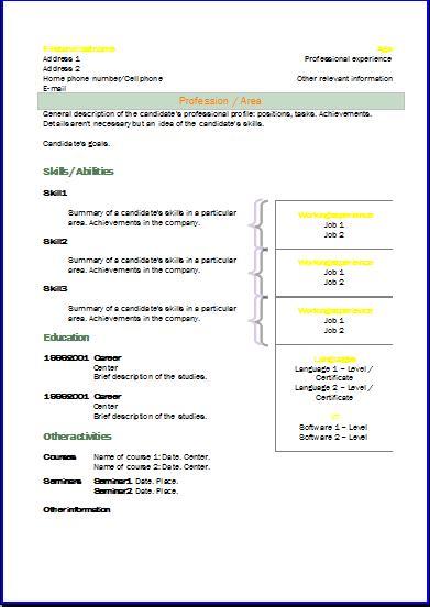 cv formats templates