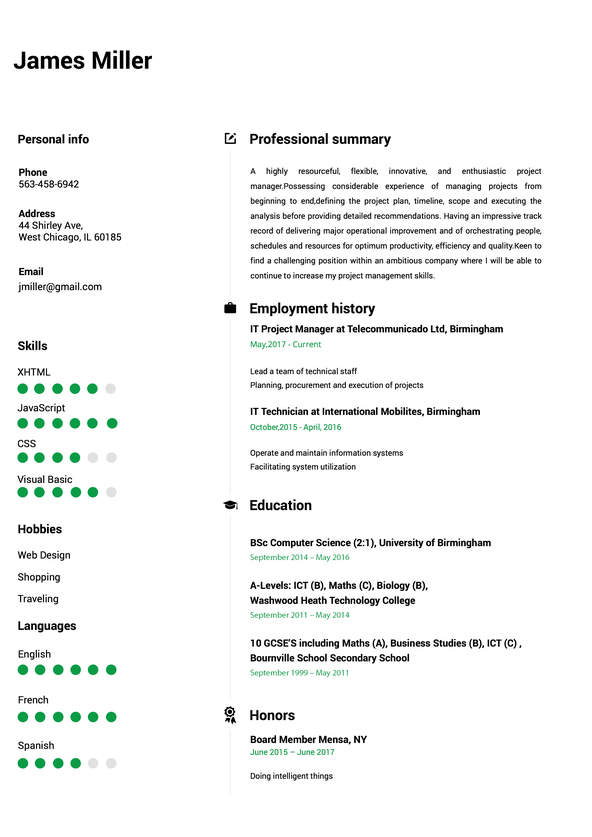 free online resume builder templates