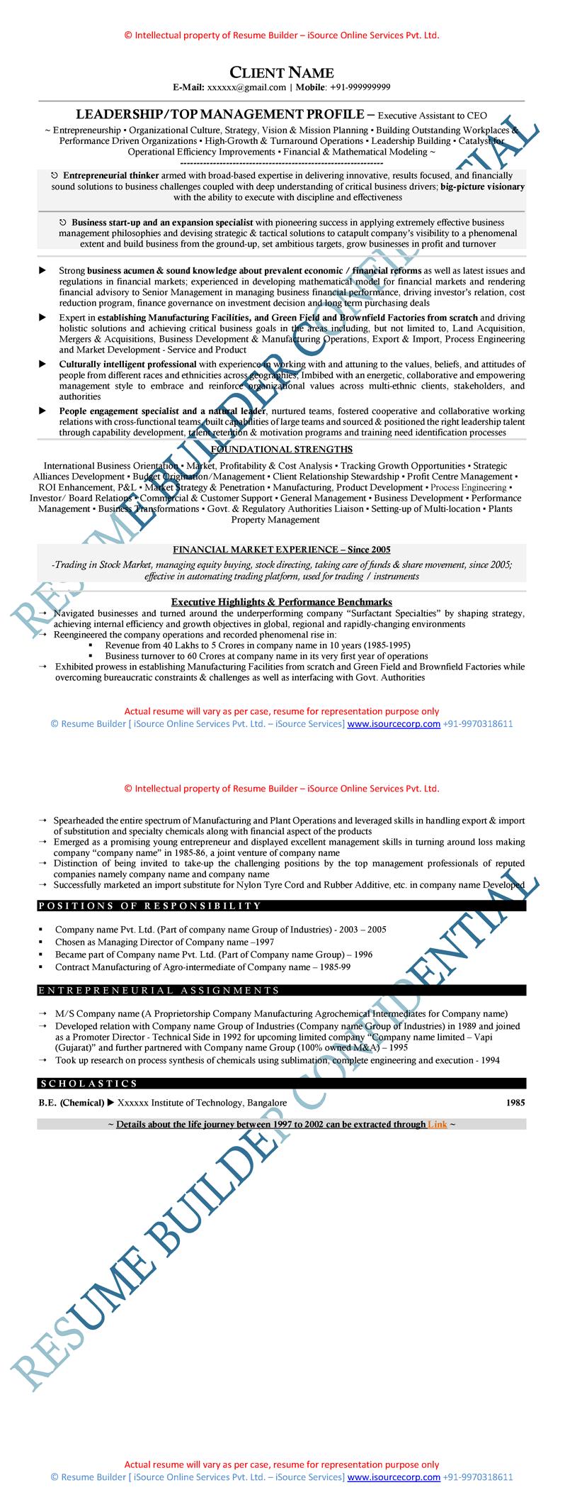 Sample Of Senior Level Resume