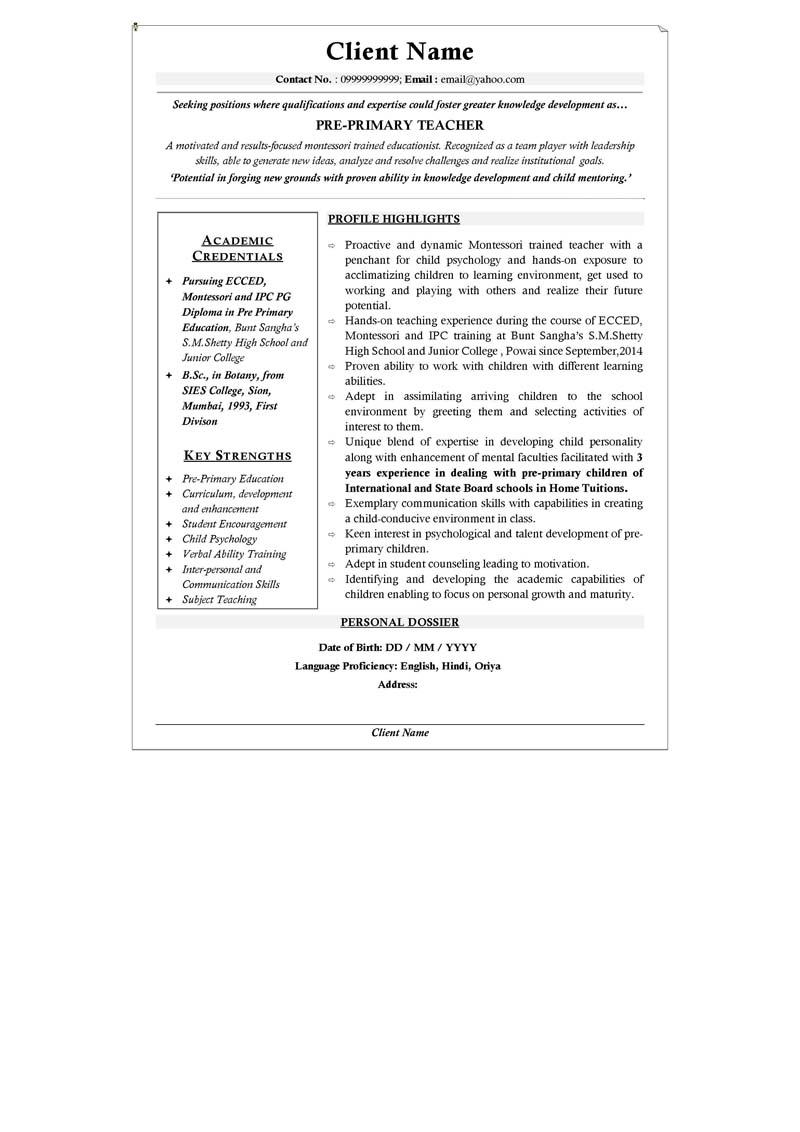 sample of professional profile on resume