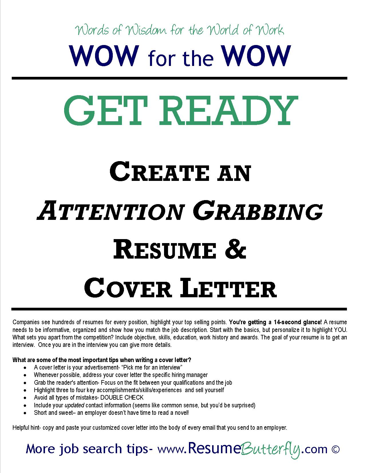 How To Prepare A Cover Letter For A Resume Wow For The Wow Job Search Skills Resume Butterfly Get Ready