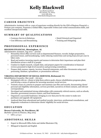 professional resume bullet points
