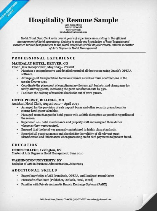 resume examples for hospitality