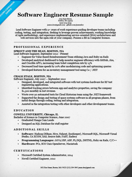 Software Engineer Resume Sample & Writing Tips Resume Companion