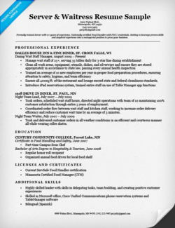 Server & Waitress Cover Letter Sample Resume Companion