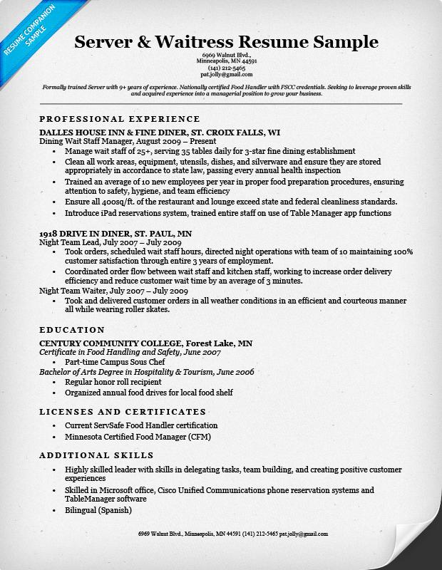 Server Waitress Resume Sample Companion  Server Resume Skills