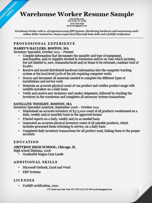 Sample Warehouse Resume - Resume Sample