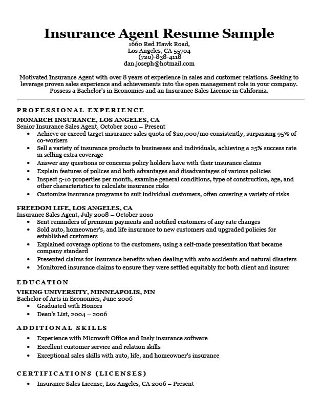 independent insurance agent sample resume