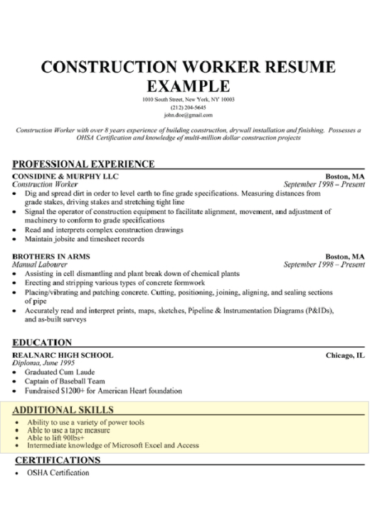 skills section on resumes