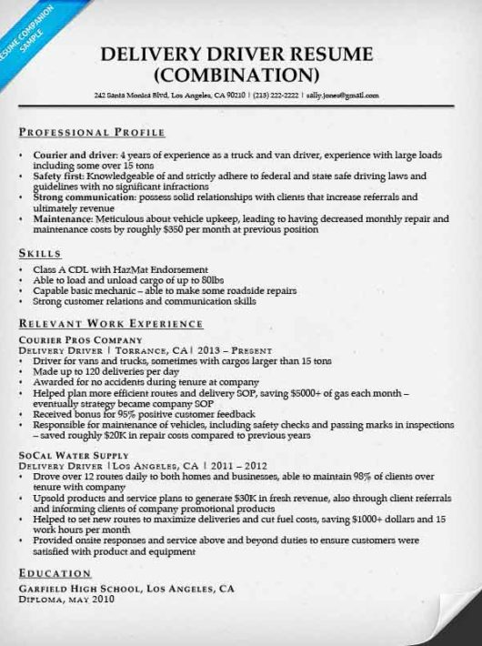 Delivery Driver Resume Example  Examples Of Resumes