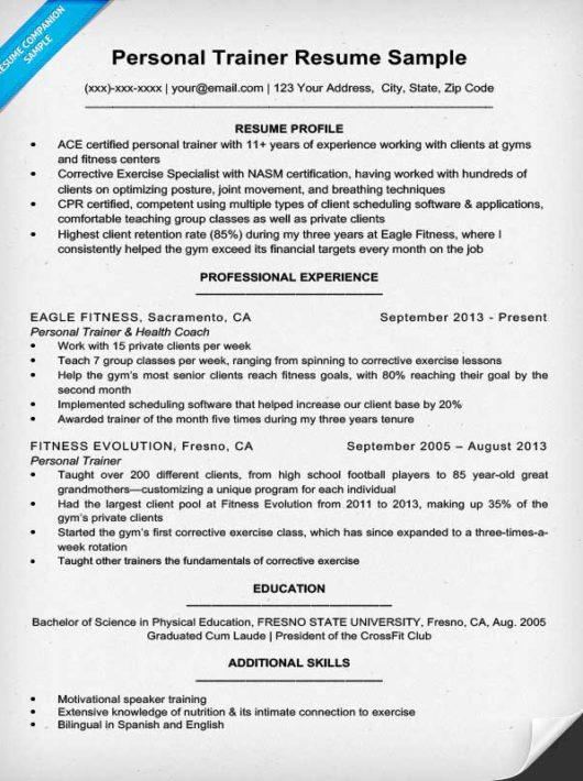 Personal Trainer Resume Sample U0026 Writing Tips Resume Companion  Resume For Personal Trainer