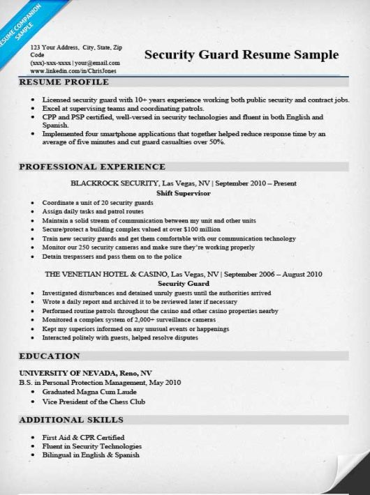 Security Guard Resume Sample & Writing Tips Resume Companion