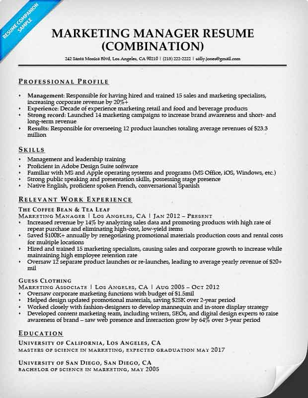 resume sample marketing manager