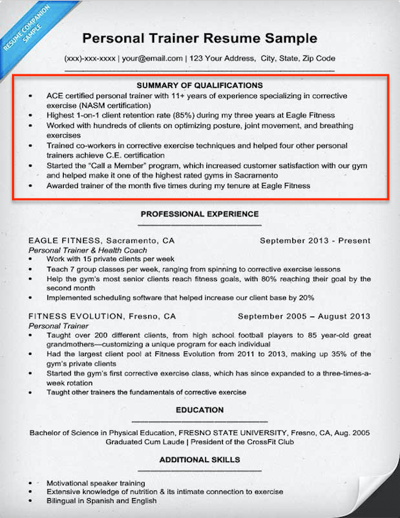 resume examples of qualifications
