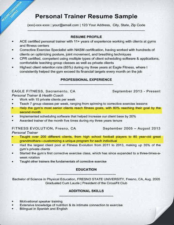 Personal Trainer Resume Sample & Writing Tips Resume Companion