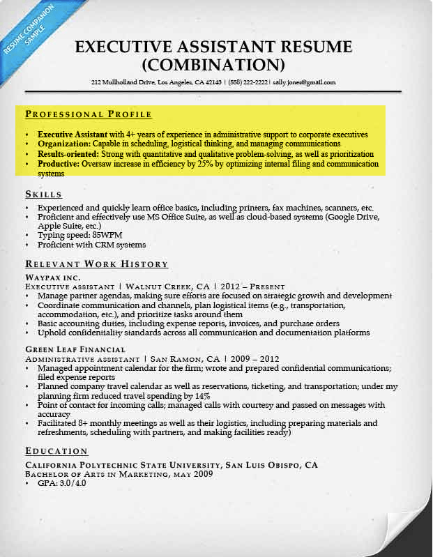 good profile for resume