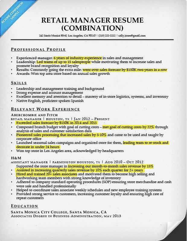 Retail Manager Resume Sample & Writing Tips Resume Companion
