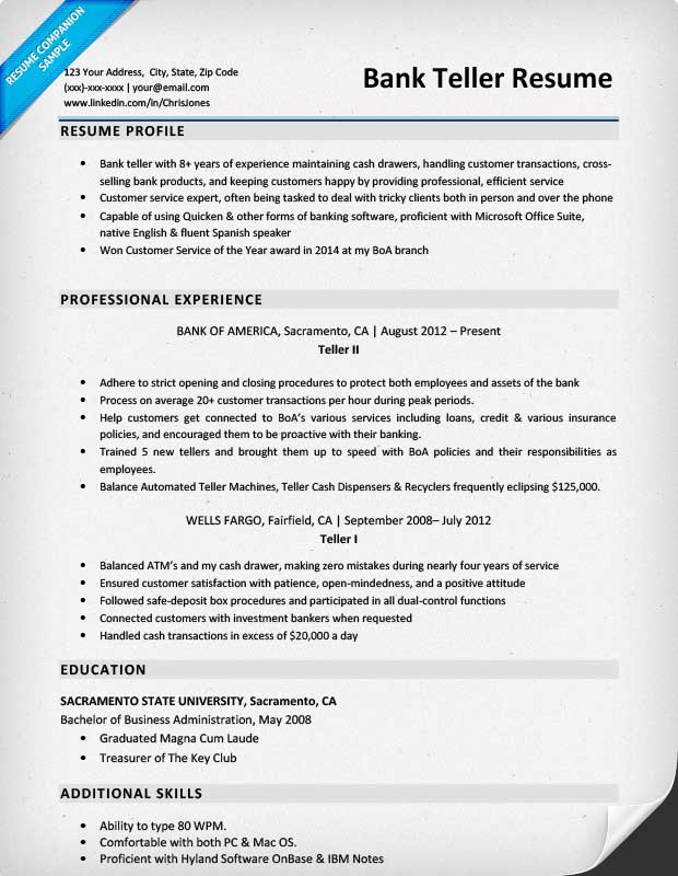 Teller Resume Example - Examples Of Resumes