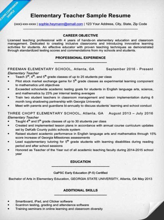Elementary Teacher Resume Sample & Writing Tips Resume