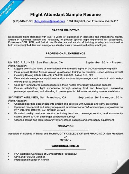 Flight Attendant Resume Sample & Writing Tips Resume Companion