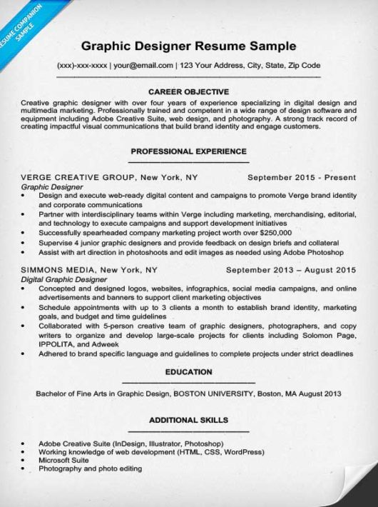 Graphic Design Resume Sample & Writing Tips Resume Companion
