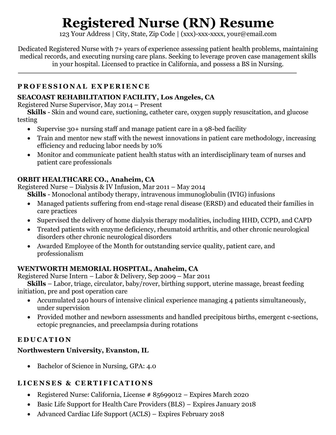 Registered Nurse Rn Resume Sample Amp Tips