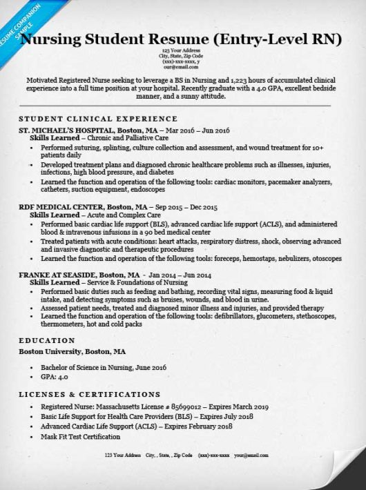 Entry Level Nursing Student Resume Sample U0026 Tips Resume Companion  Nursing Student Resume Clinical Experience