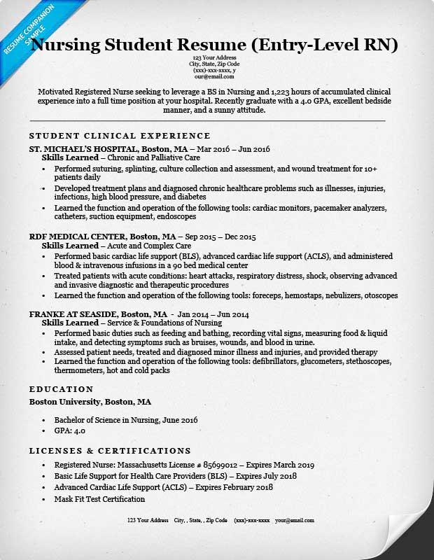 EntryLevel Nursing Student Resume Sample  Tips  ResumeCompanion