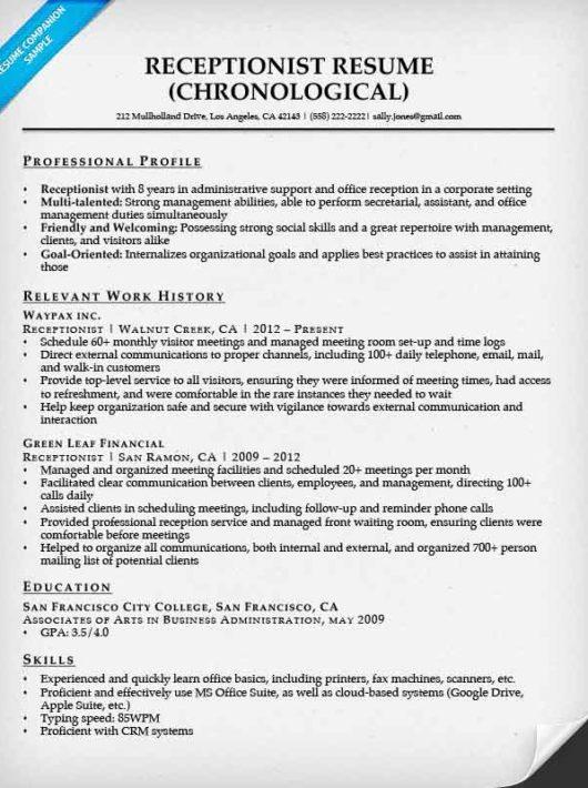Receptionist Resumes Best Receptionist Resume Receptionist Resume  Resume For A Receptionist