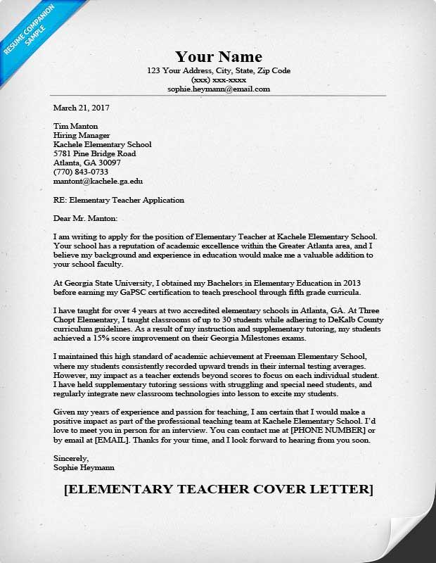 Elementary Teacher Cover Letter Sample & Writing Tips Resume