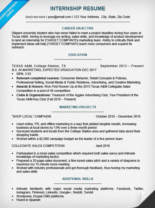 sample high school student resume for internship
