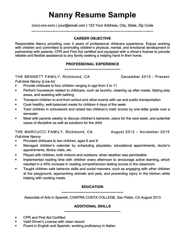 Nanny Resume Sample  Writing Tips  Resume Companion