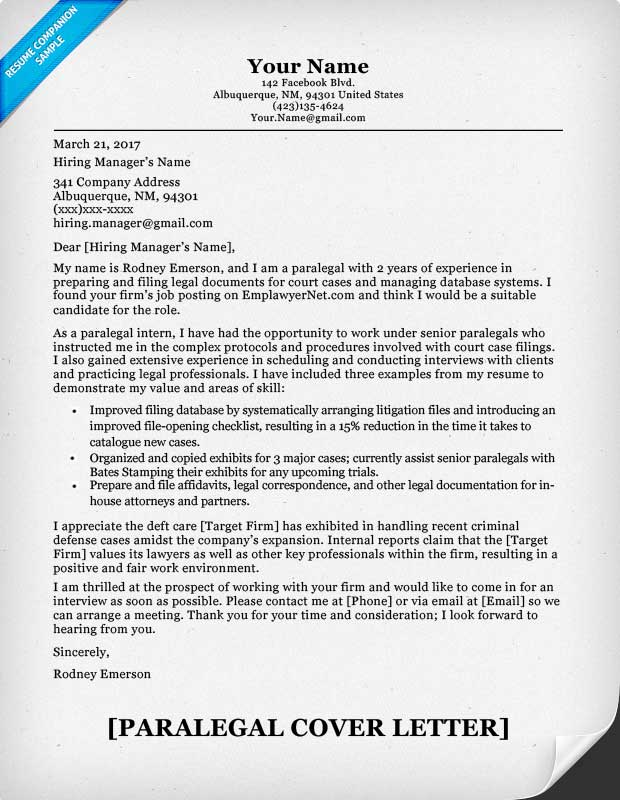 Paralegal Cover Letter Sample  Writing Tips  Resume Companion