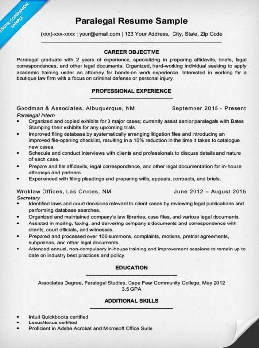 sample of paralegal resume