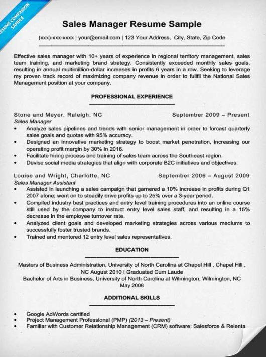 territory sales manager resume examples