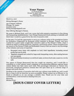 Chef Cover Letter Sample  Writing Tips  Resume Companion