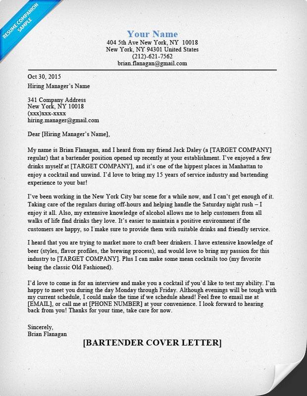 Cover Letter Bartending Resume Samples