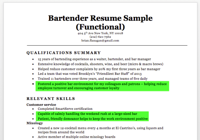 bartending resume sample