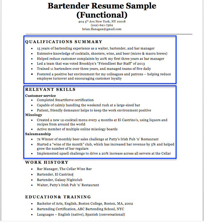 Bartender Resume Sample & Writing Tips Resume Companion